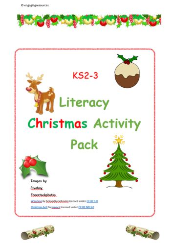 christmas activity forwork activity pack ks2 and ks3 and literacy by engagingresources teaching