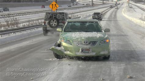 minneapolis mn icy roads  crashes  youtube