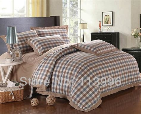 queen size comforter sets for men yarn dyed simple plaid cotton comforter bedding set