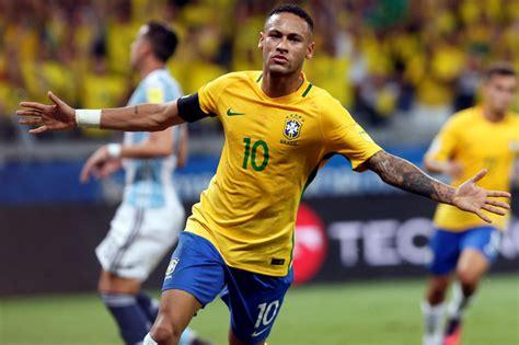brazil v argentina neymar blitzes barcelona team mate