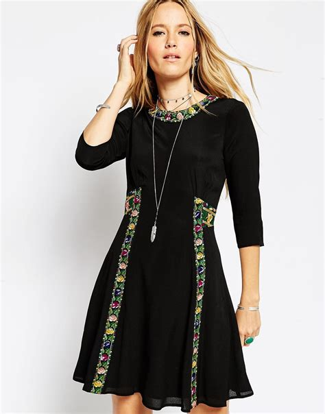 Maxi Bohemian Dress Alia Black lyst asos boho dress with cross stitch detail in black