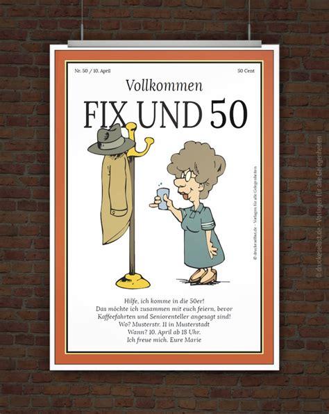 Moderne Plakat Vorlagen Drucke Selbst Lustige Einladung Zum 50 Geburtstag