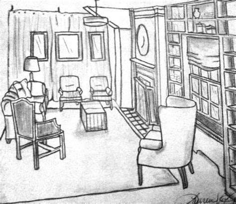 living room drawing modern interior room sketch hand drawn illustration save