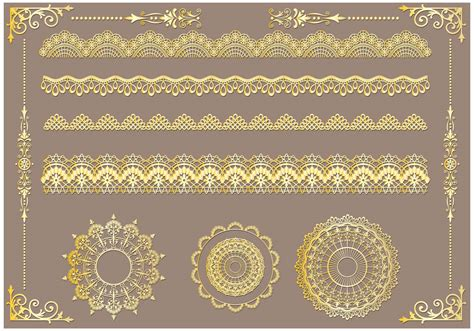 Lace Trim Set set of lace trim vectors free vector stock