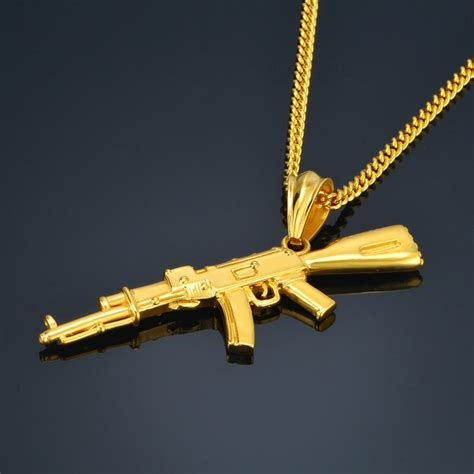 ak47 pendant black or gold stainless steel gun necklace