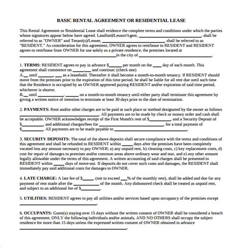 business rental agreement template sle business rental agreement 7 free documents