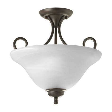 Alabaster Ceiling Lights Progress Bronze Semi Flushmount Ceiling Light With Alabaster Glass P3460 20 Destination Lighting