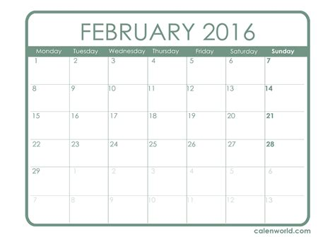 Calendar Which Day Of The Year It Is February 2016 Calendar Printable Calendars