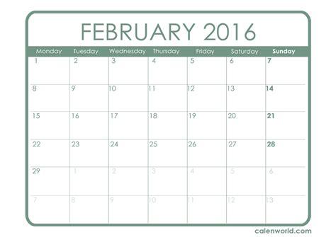 Day Of Year Calendar February 2016 Calendar Printable Calendars
