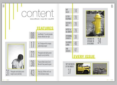 portfolio content layout image result for magazine table of contents design