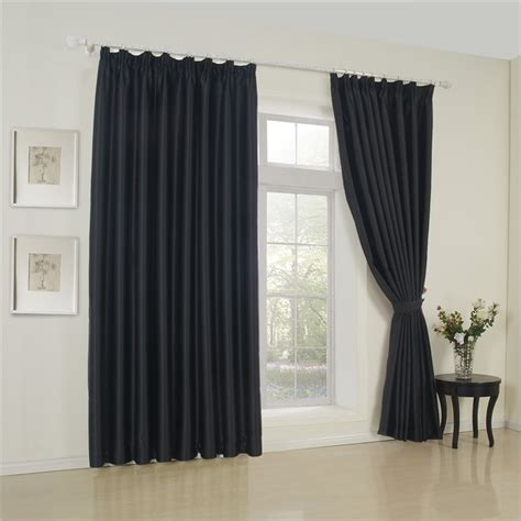 polyester blackout curtains pure black concise style polyester blackout curtain