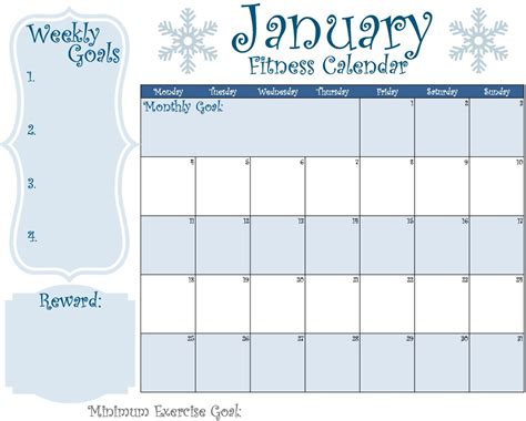 Fitness Calendar 2016 January Fit Calendar Get Fit Lose Weight Feel
