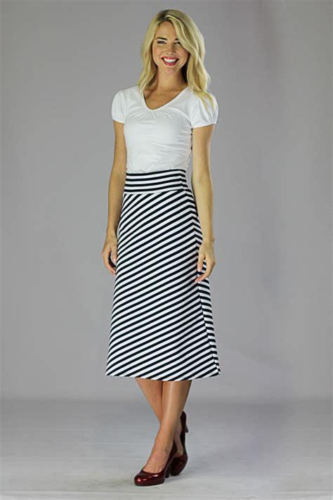modest midi skirts in black and white stripes