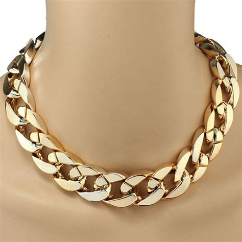 gold chain choker necklace by niceroker shiny link id style
