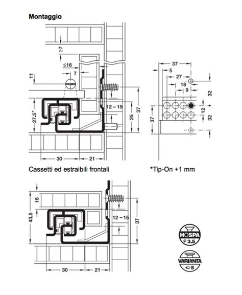 guide per cassetti blum guida per cassetti blum tandemplus 30 kg lunghezza 350 mm