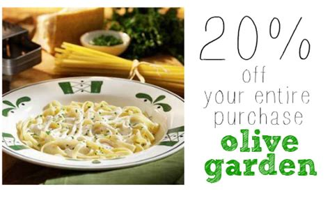 olive garden coupons code 2015 olive garden coupon 20 off your entire purchase more