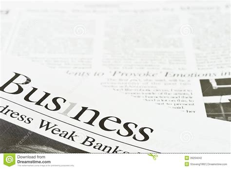 business section of newspaper business newspaper stock photo image 39294042