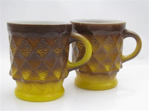 Antique Bar Decor by 70s Vintage Fire King Kimberly Coffee Mugs Shaded Brown