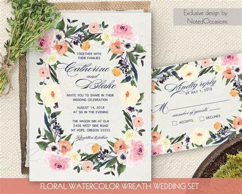 free printable wedding invitation watercolor watercolor floral wreath wedding invitation printable