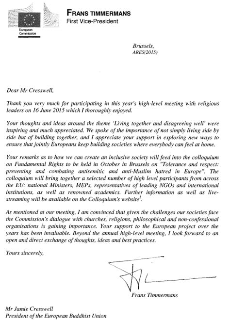 Recommendation Letter Vice President European Buddhist Union 187 Letter From Ec Vice President Timmermans