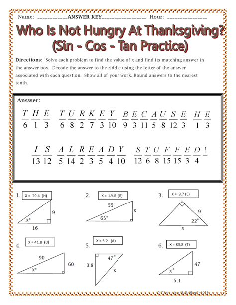 Cos Worksheet With Answers by Sine Cosine And Tangent Practice Worksheet Answers