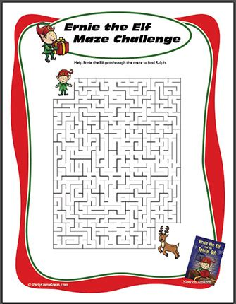 ernie the elf gift passing game printable maze for