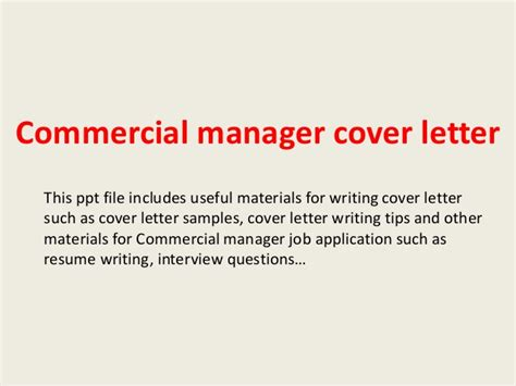 commercial manager cover letter commercial manager cover letter