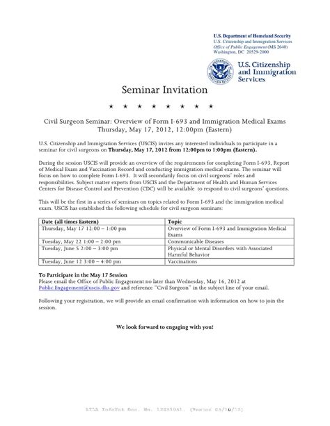 Endorsement Letter Department Health immigration exams and the i 693 form