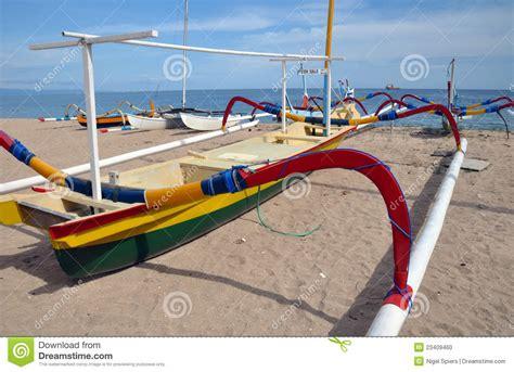 fishing boat bali bali fishing boat on beach sanur indonesia stock photo