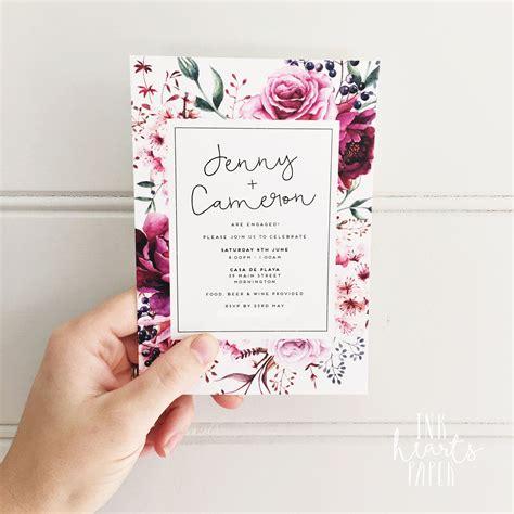 invitation design debut floral classy modern white invitation engagement