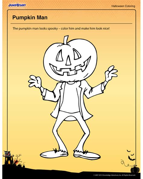 pumpkin man coloring page pumpkin man fun free halloween coloring worksheet