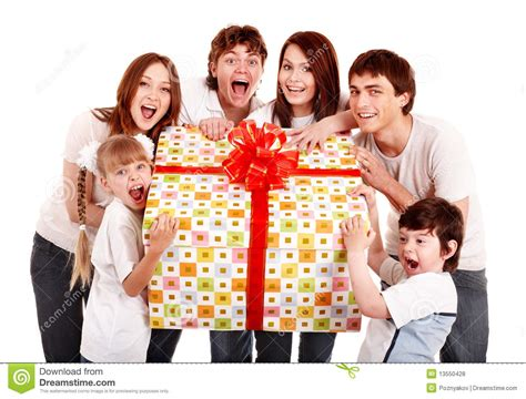 gift for family happy family with gift box royalty free stock photos