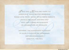 post wedding reception invitation wording wedding reception invitation wording n k