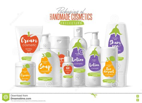 Handmade Cosmetics Brands - handmade cosmetic brand template packaging set stock