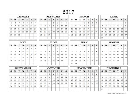 2017 Yearly Calendar Printable With Holidays 2017 Yearly Calendar Landscape 09 Free Printable Templates