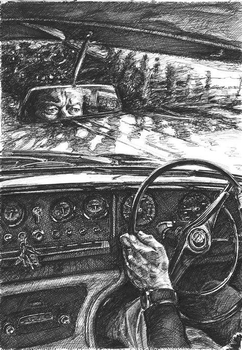 Fineliner drawing of the interior of a Jaguar MK10 driving