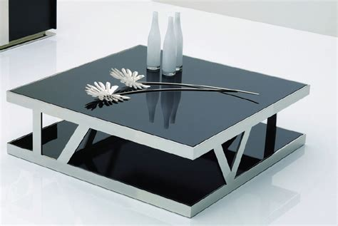 929e modern black glass square coffee table