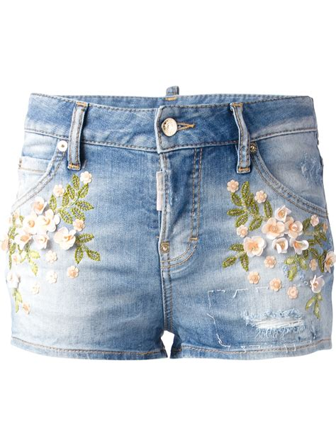Denim Embroidered Shorts dsquared 178 embroidered denim shorts in blue lyst