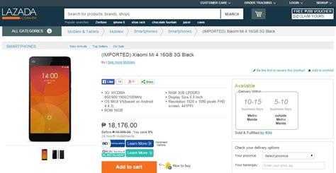 Hp Xiaomi Mi4 Di Lazada xiaomi mi 4 now available in the philippines via lazada