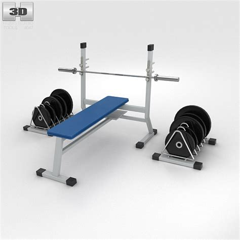 weight bench with weights 3d model humster3d