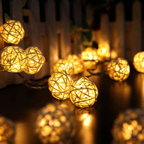 rattan string lights 2m 20 led white warm white ac110v 125v rattan led