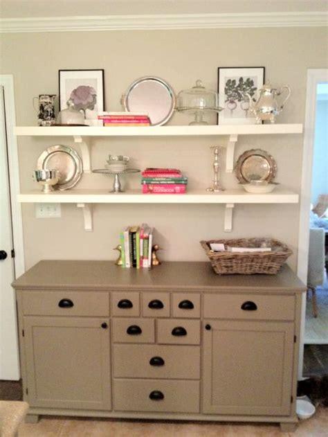 white dresser with open shelves love this white shelves over dresser in dining room