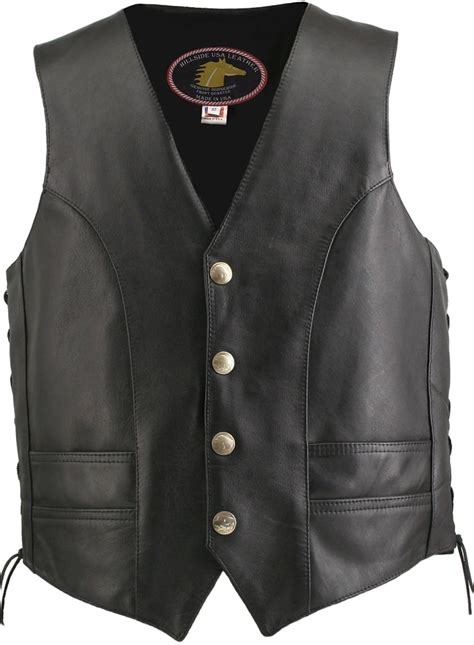 leather vest men s hillside usa horsehide biker vest