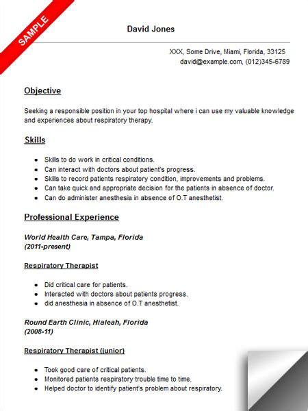 respiratory therapist resume sle