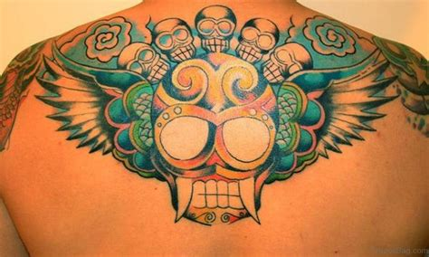 colored skull tattoo designs 80 looking skull tattoos on back