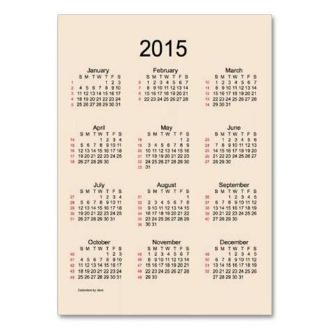 52 Week Calendar 52 Week Calendar 2015 Business Cards Stuffers