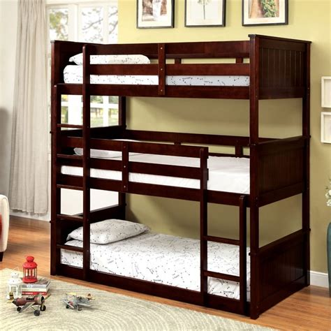 Three Bed Bunk Beds Furniture Of America Dorian Decker Bunk Bed In Espresso Idf Bk628