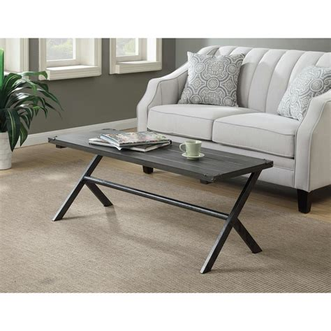 Weathered Gray Coffee Table Acme Furniture Allis Weathered Gray Oak Water Resistant Coffee Table 81730 The Home Depot
