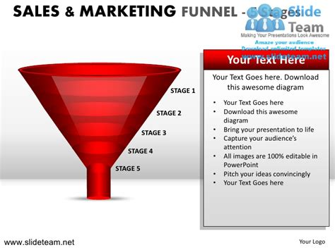 sales and marketing funnel 5 stages powerpoint ppt templates