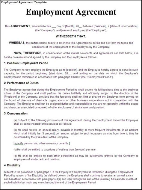 Performance Agreement Letter Template Helpful Template Sle For Employment Agreement Featuring Performance And Compensation Thogati